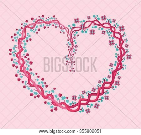 Pink Floral Heart Shaped With Feminine And Girly Shades. Can Be Used For Graduation Parties, Wedding