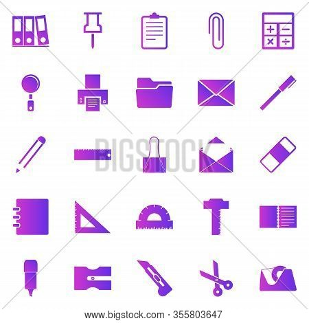 Stationary Gradient Icons On White Background, Stock Vector