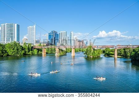 Austin, Tx May 31, 2017: Amazing View Of Austin Skyline During Sunny Day In Austin Tx Usa