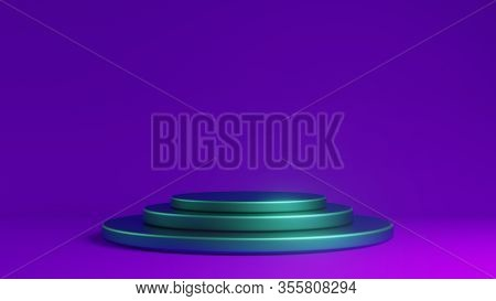 Futuristic Empty Stage Elegant Violet And Blue Background With Abstract Podium.interior Backdrop For