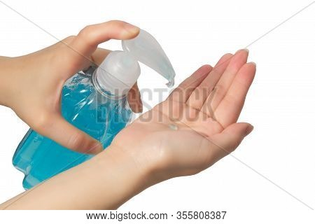 Woman Using Alcohol Antiseptic Gel For Cleaning Hands On White Background