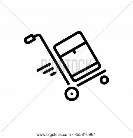 Black Line Icon For Carrier Bearer Freight Transporter Baggage Cargo Cart Deliver Distribution Lugga