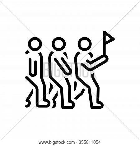 Black Line Icon For Leadership Sloganeering Catchphrase Group Shibboleth Lead Hegemony Pilotage Guid