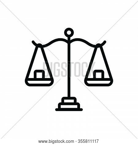 Black Line Icon For Reasonable Scales Balance Equilibrium Equilibration Poise Comparison