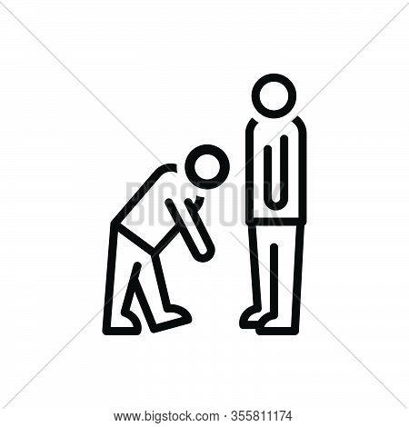 Black Line Icon For Virtue Good-behavior Respect Regard Honor Manner