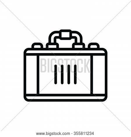 Black Line Icon For Case Brief Handle Suitcase Travel-bag Valise Portmanteau Vanity-case Baggage Han