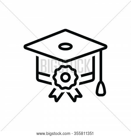 Black Line Icon For Scholarship College Finance Student Achievement Bachelor Cap Degree Diploma Grad
