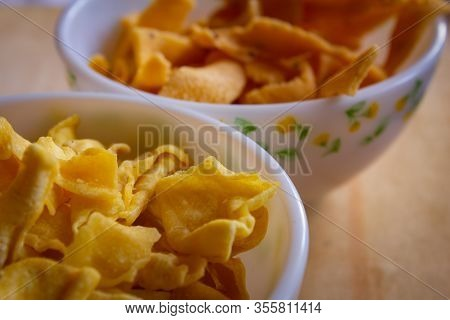 Close View Of Papdi Gathiya And Ribbon Pakoda Which Are Popular Indian Savoury. Indian Sweet And Sav