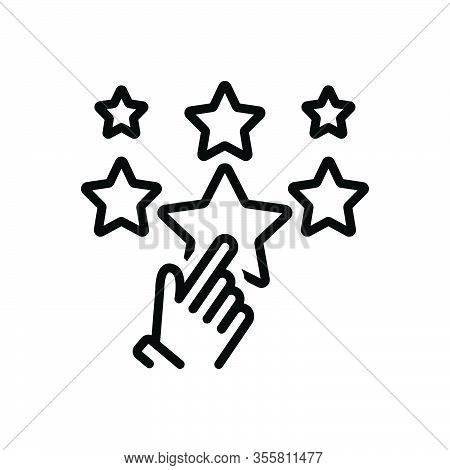 Black Line Icon For Favor Support Choose Rating Star Best Valuation Favorite Feedback Review Like Sa