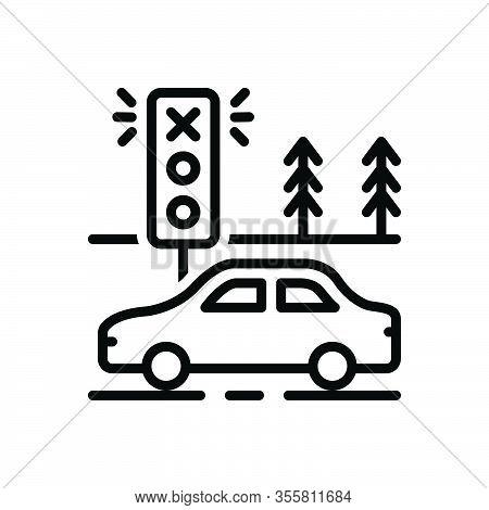 Black Line Icon For Violate Contravene Breach Infringement Transgression Garage Traffic Light