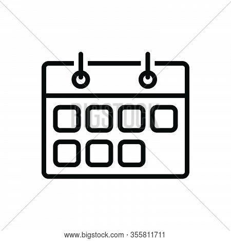 Black Line Icon For Week Weekly Once-a-week Calendar Publication Schedule Reminder