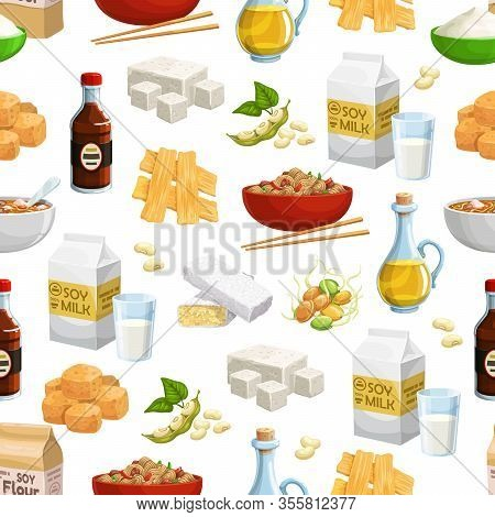 Soybean Food Vector Seamless Pattern. Background With Soy Milk, Oil And Sauce Bottles, Tofu, Tempeh