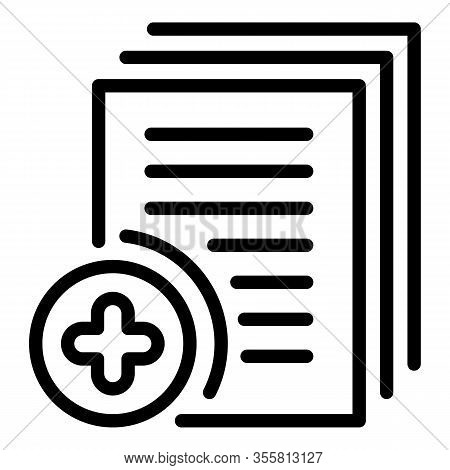 Audit Plus Papers Icon. Outline Audit Plus Papers Vector Icon For Web Design Isolated On White Backg