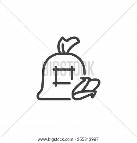 Corn Cob Sack Line Icon. Linear Style Sign For Mobile Concept And Web Design. Bag Of Maize Cob Outli