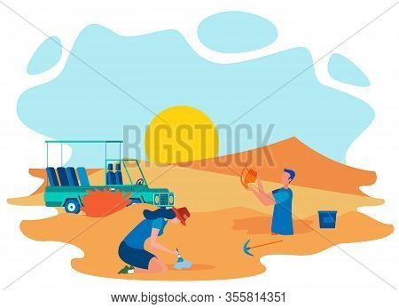 Archeological Excavation Place Flat Illustration. Male And Female Archaeologist Digging In Desert, S