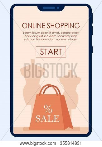Bright Poster Online Shopping Written Cartoon. Banner On Smartphone Screen Application For Purchase