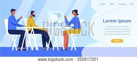 Company Landing Page Offering Staff Recruitment. Human Resource And Hiring Vector Illustration. Cart