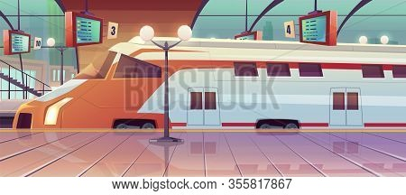 Railway Station With High Speed Train And Platform With Schedule. Vector Cartoon Illustration Of Emp