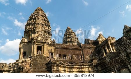 Siem Reap, Cambodia - December 30,2019 : Angkor Wat Is A Temple Originally Hindu Built For Khmer Emp