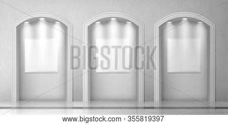 Arches In Wall With Columns And Illuminated Blank Signboards, Curved Interior Gates With White Pilla