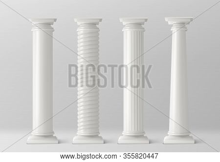 Antique Pillars Set Isolated On White Background. Ancient Classic Stone Columns Of Roman Or Greece A