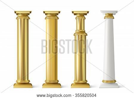 Antique Gold Pillars Set. Ancient Columns With Golden Decorative Texture Isolated On White Backgroun