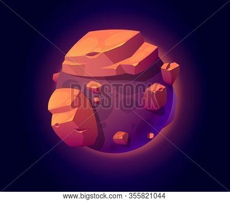Fantasy Space Planet With Big Rocks For Ui Galaxy Game. Vector Cartoon Icon Of Alien World, Fantasti