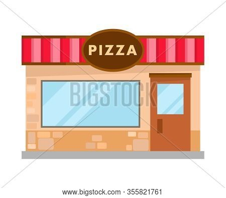 Pizzeria Modern Bricks Building Flat Illustration. Cafeteria, Restaurant Front View. Family Cafe In