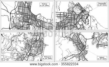 Wollongong, Townsville, Hobart and Geelong Australia City Maps in Black and White Color. Outline Maps.