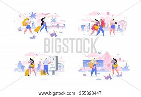 Modern Men And Women During Trip Abroad. Set Of Flat Vector Illustrations