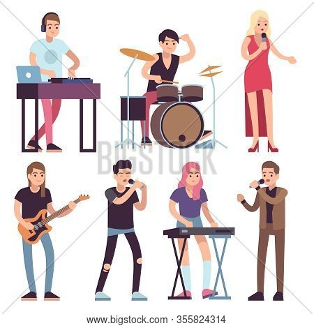 Musicians. Rock And Pop Musicians With Microphones, Guitarists And Drummers, Vocalists Musical Perfo