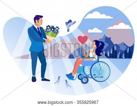 Relationship With Disabled Girl Cartoon Flat. Disability Group And Degree Restriction Affect Persona