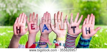 Children Hands Building Word Health, Grass Meadow