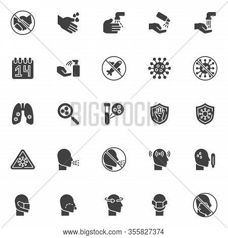 Coronavirus 2019-ncov Symptoms Vector Icons Set, Modern Solid Symbol Collection, Filled Style Pictog