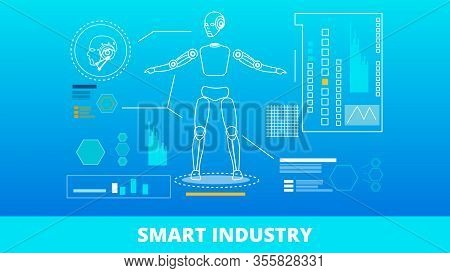 Smart Industry Lettering Banner. Robot With Ai And Different Function. Robotization System. Cybernet