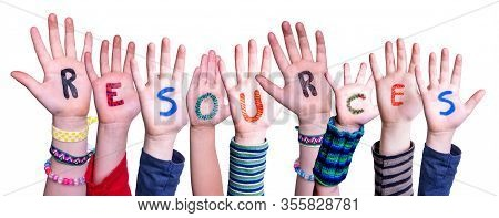 Children Hands Building Word Resources, Isolated Background