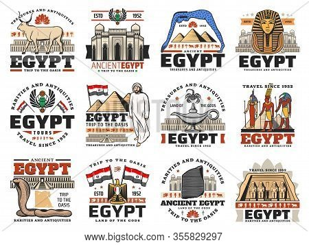 Ancient Egypt Icons Of Egyptian Travel Vector Design. Pharaoh Pyramids, Sphinx And Giza Temples, Amu