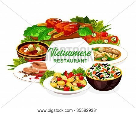 Vietnamese Restaurant Icon Of Beef Pho Bo And Mushroom Noodle Soups With Asian Rice And Vegetables.