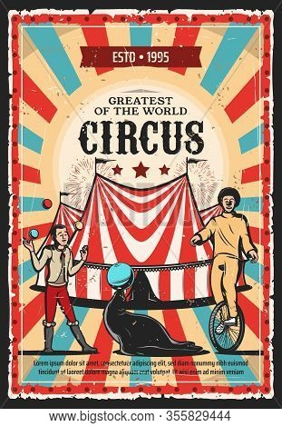 Circus Top Tent With Clown, Acrobat And Trained Animal Vector Design Of Carnival Show. Juggler Juggl