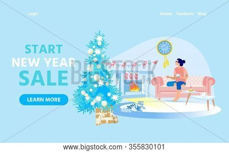 Advertising Banner, Start New Year Sale Cozy Home. Girl In Home Clothes Is Sitting At Home On Couch.