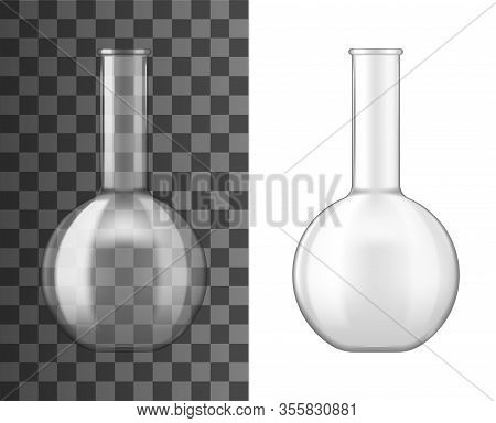 Laboratory Glass Flask Or Beaker 3d Vector Design Of Chemical Lab Glassware Equipment. Realistic Emp