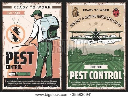 Pest Control Vector Design Of Insect And Bug Protection Service. Exterminator With Insecticide Or Pe