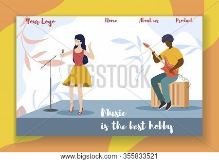 Music Is The Best Hobby Horizontal Banner. Young Woman Singer Performing On Stage With Accompaniment