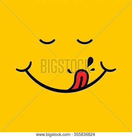Yummy Smile With Red Tongue, Saliva On Yellow Background. Hungry, Eating, Tasting Face. Happy Charac