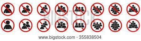 Ban Of Crowd Of People Or Group Of People. Prohibited To Get Together. Prohibited Sign Of Crowd Of P