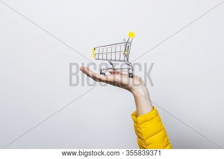Hand Holding Shopping Cart On A Light Background. Concept Of Buy Shopping Cart, Online Shopping, Sho