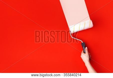 Wall Paint And Home Renovation Background. Home Redecorating Concept. Female Hand With A Paint Rolle
