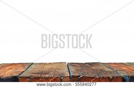 An Ancient Empty Wooden Table In Front Isolated On White. Table In Perspective View With Copy Space