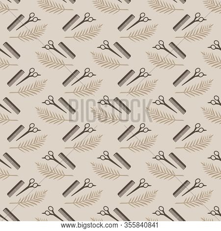 Pattern Repetitive Tools Every Hairdresser Needs. Floral Motif Scissors And Combs. Vector Illustrati