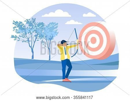 Cartoon Businessman Character Aiming At Flat Target. Employee, Executive Manager Shooting From Bow.